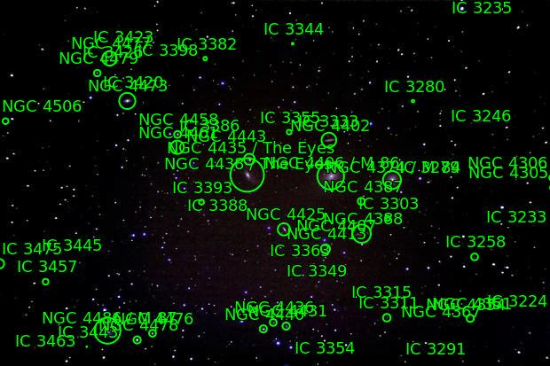 M 87, Ngc 4477, Ngc 4473, Ngc 4461, Ngc 4438 ,  Ngc 4435, Ngc 4425, Ngc 4413, Ngc 4402, Ngc 4388, Ic 3311, M 84, M 86