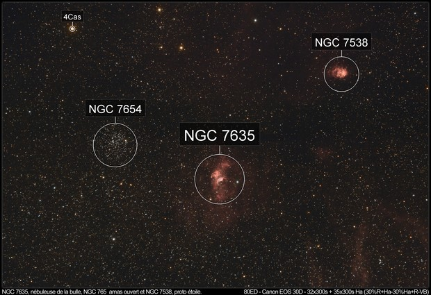 NGC 7635, bubble nebula