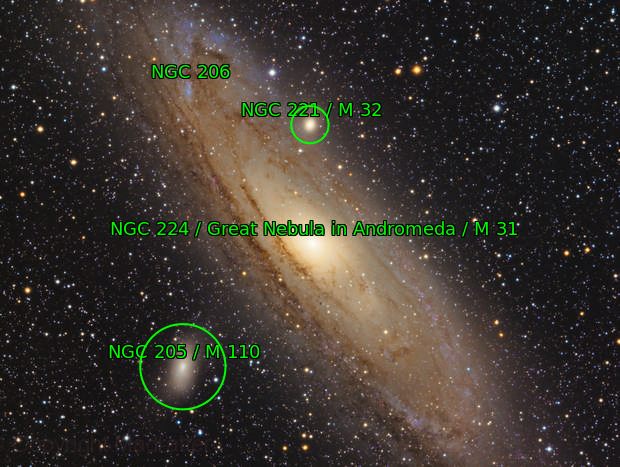 The Great Andromeda Galaxy, Messier 31 with Messier 32 and Messier 110