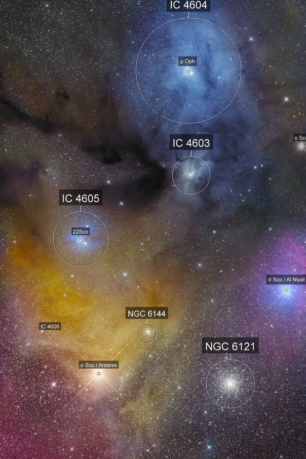 Rho Ophiuchi and Antares
