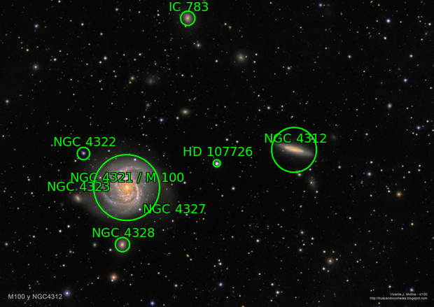 M100 and surrounding galaxies