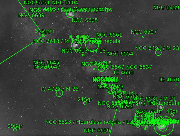M8, M16, M17, M18, M20, M21, M23, M24, M25, NGC6590, NGC6605 - Milky Way