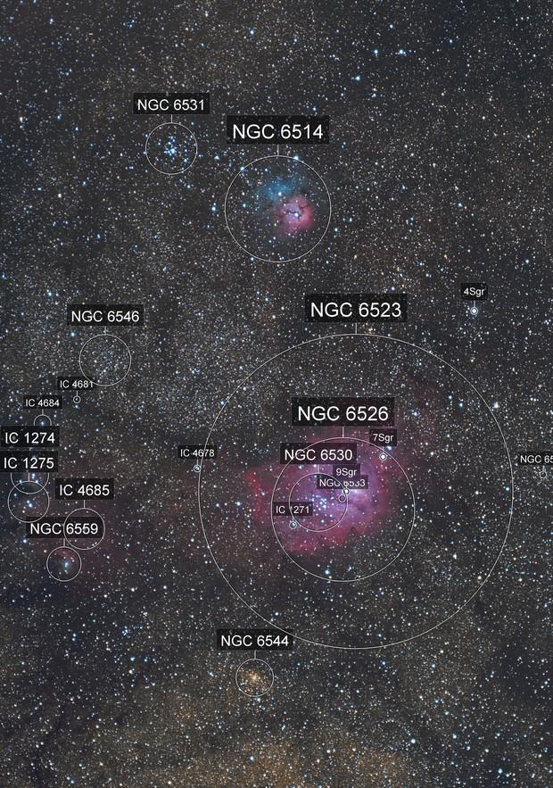 Lagoon and trifid nebula (crop)