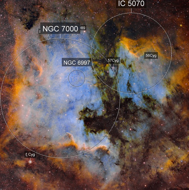 NGC7000 Nébuleuse Nord America  - IC5070 Nébuleuse du Pelican  -  SHO