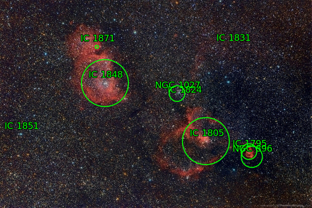 IC 1805 and IC 1848, the Heart and Soul Nebulae