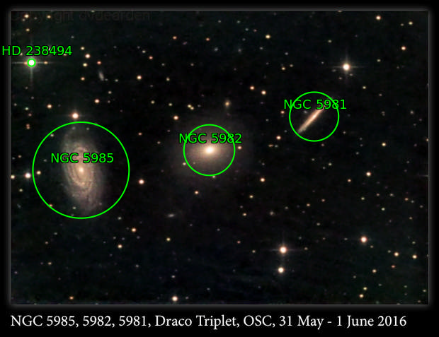 NGC 5985, 5982, 5981, Draco Triplet, OSC, 31 May-1 Jun 2016
