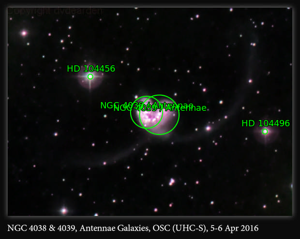 NGC 4038 & 4039, Antennae Galaxies, OSC (UHC-S), 5-6 Apr 2016