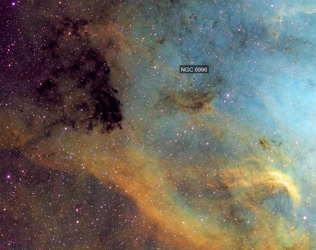 Portion of North American Nebula SHO