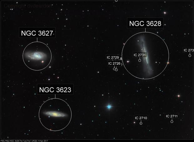 "M65, M66, NGC 3628: The ""Leo Trio"", LRGB, 14 Apr 2017"