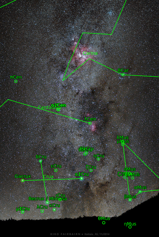The Southern Cross, Eta Carinae & Lambda Centauri (Fixed Tripod)  - APOD on 2015 Out 19