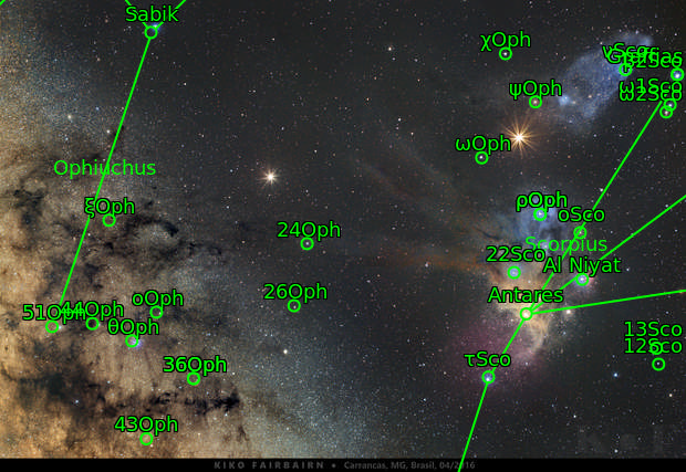 Ophiuchus, Mars and Saturn - APOD on 2016 May 10