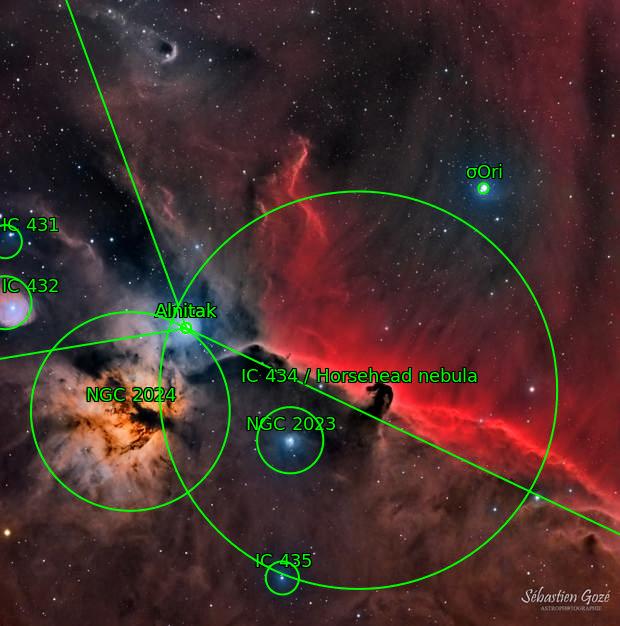 IC 434 Nébuleuse de la tête de cheval et la flamme