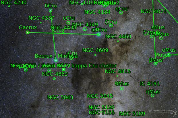 Southern Cross and the Coalsack Dark Nebula