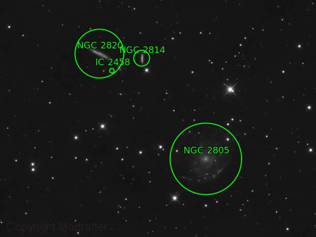 Holmberg 124 (NGC 2805, 2814, 2820, and IC 2458)