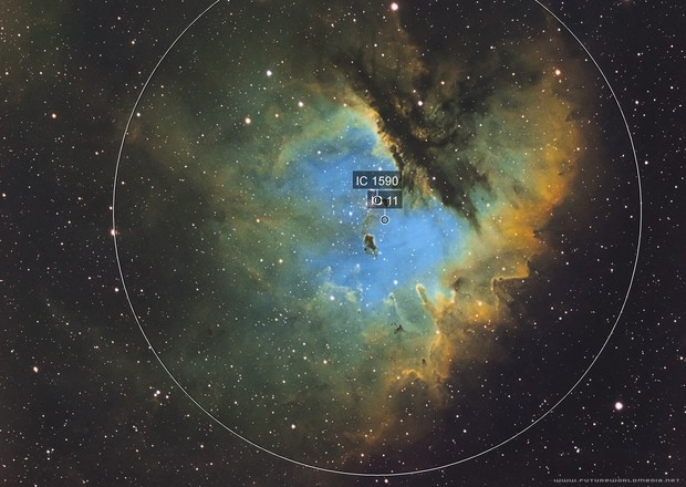 NGC 281 Pacman Nebula in the Hubble Palette