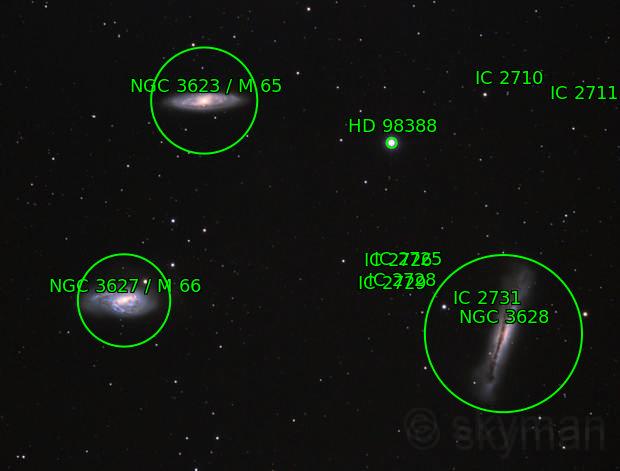 Triplete de Leo (M66, M65, NGC3628)