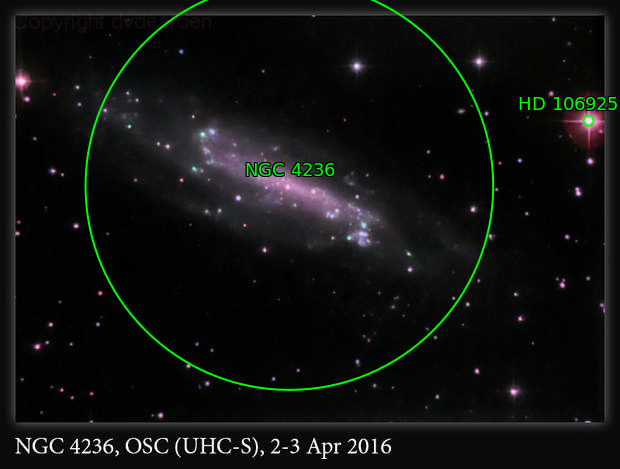 NGC 4236, Spiral Galaxy in Draco, OSC (UHC-S), 2-3 Apr 2016