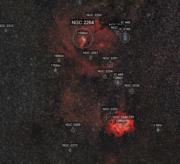 NGC 2244 (Rosette Nebula) to NGC 2264 (Cone Nebula) Widefield