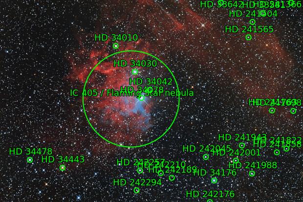 IC 405 (flaming star nebula)
