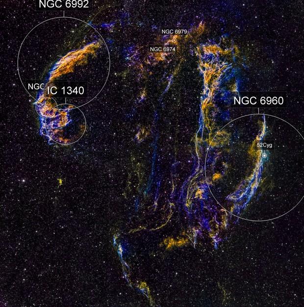 Cygnus Loop widefield mosaic (3x2) in HαSHO