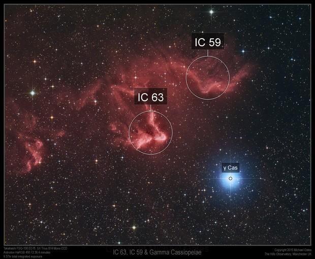 IC 63, IC59 and Gamma Cassiopeiae HaRGB
