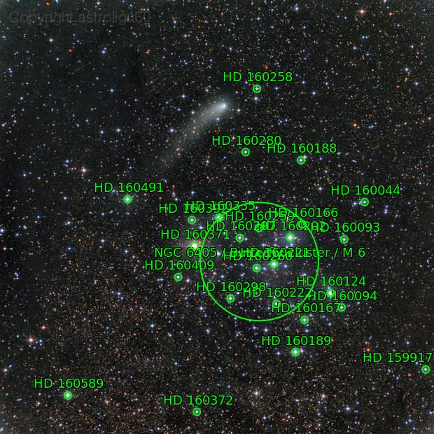 cometa C/2013 A1 Siding Spring del 09/10/2014 vicino all'ammasso M6
