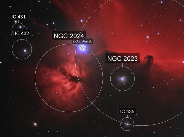 Horsehead and Flame Nebulae (Ha+LRGB)