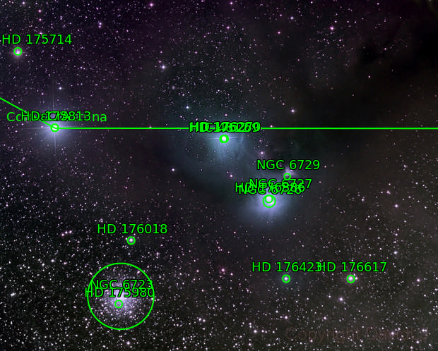 NGC 6723 and Friends (NGCs 6726, 6727, 6729, IC 4812, etc.)