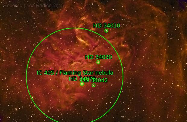 A Weird False color Flaming Star Nebula