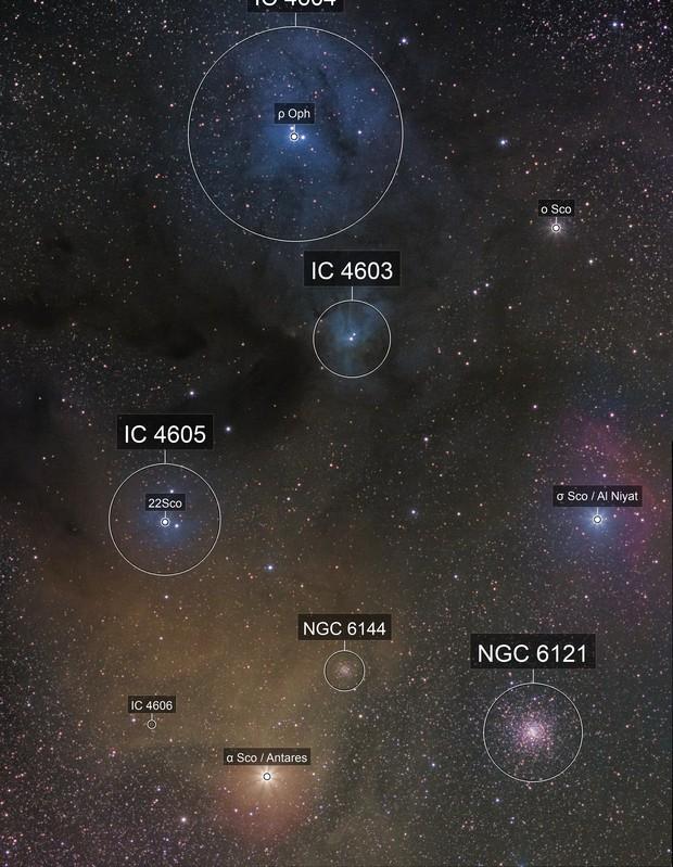 LDN1688/1689 VDB104/105/108, IC4606 - Rho Ophiuchi molecolar cloud complex in Drizzle 2x & DSLR