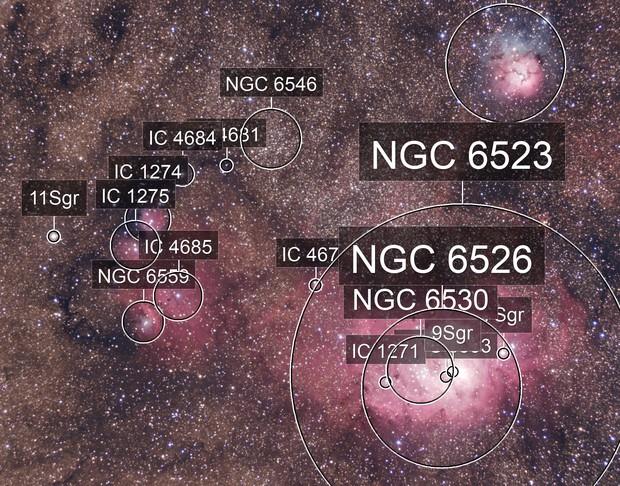 M 8, M 20, NGC 6559, IC 4678