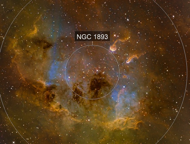 TadPoles Nebula (IC410) close up in Hubble Palette (SII/Hα/OIII)