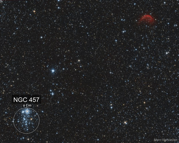 NGC 457 / The Owl Cluster & SH2-188 / The Dolphin Nebula