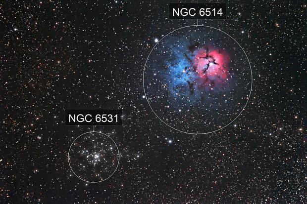 M20 and M21 in Sagittarius