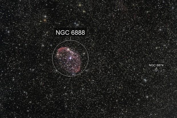 "NGC 6888 Crescent Nebula (alias ""Ohren Nebel, ""Mondsichel Nebel"")"
