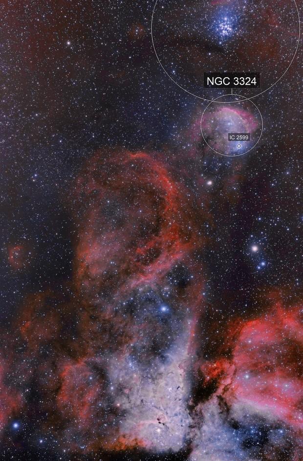 NGC 3372 Carina zone - NGC 3293 - NGC 3324 - IC 2599 Gabriela Mistral Nebula