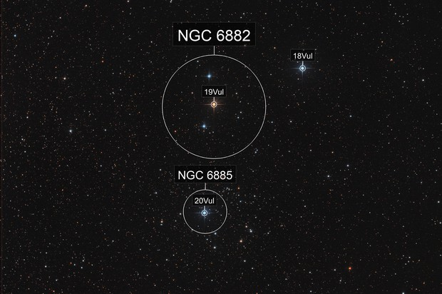 NGC 6882 and NGC 6885 - Open Clusters