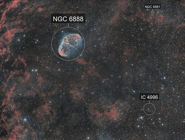 NGC 6888 - La nébuleuse du Croissant HOO