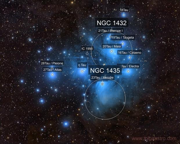 M 45  Merope nebula, NGC 1435, Maia nebula