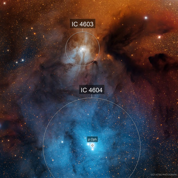 IC4603, IC4604 and Dark clouds in Rho Ophiuchi