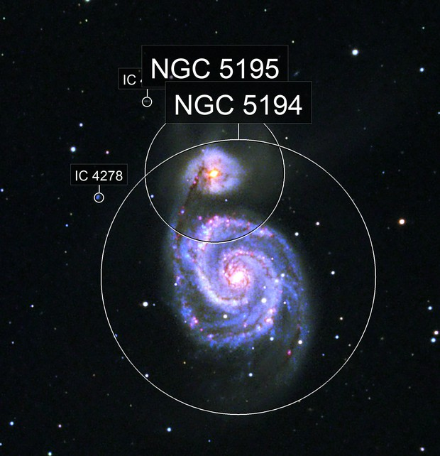 M51 enhanced with Ha, SII and OIII