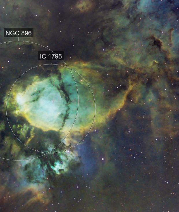 Fish Head Nebula (NGC 896) in Narrowband