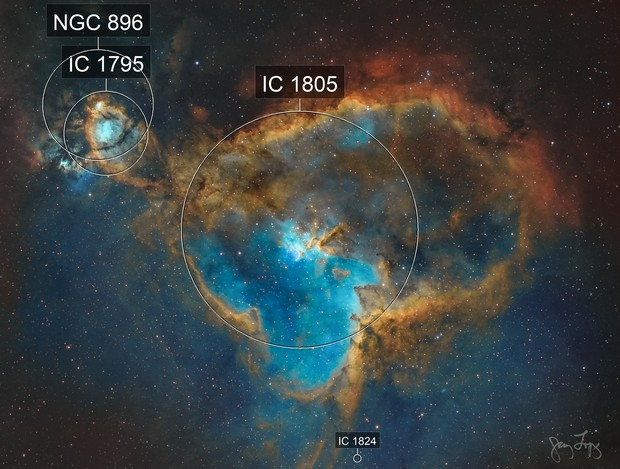 Heart Nebula (IC 1805, Sh2-190) and WeBo 1 (PN G135.6+01.0)