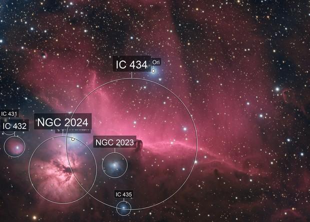 Flame and Horsehead Nebula (IC434) in HaRGB