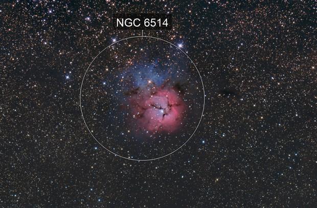Trifid Nebula in the shortest night