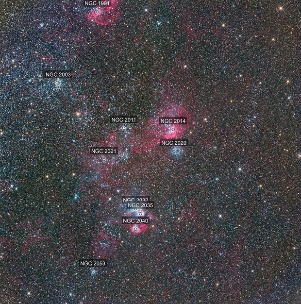 NGC2014, NGC2020, NGC2035 and NGC2040, nebulae in the Large Magellanic Cloud