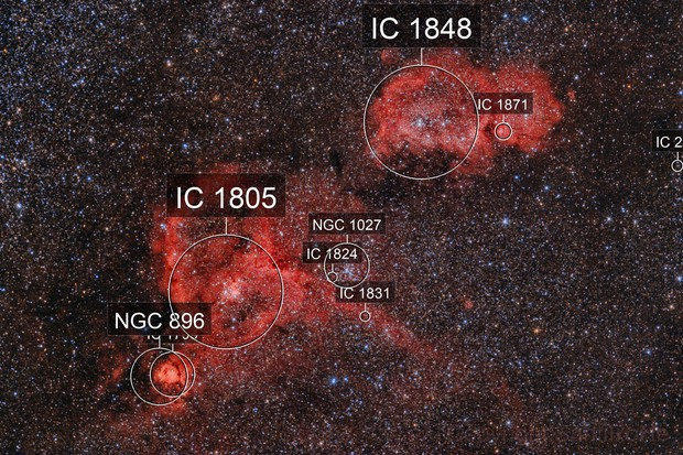 IC1805 and IC1848 - The Heart and Soul Nebulae