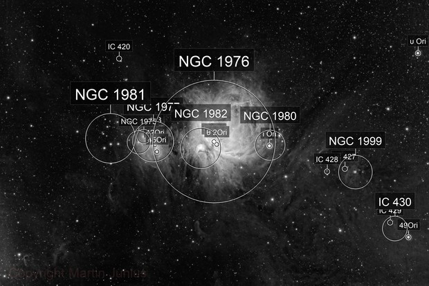 M42 Orion Nebula and Dusty Surroundings BW (Theli v1 Red)