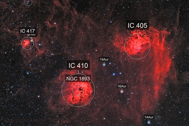 IC 405 Flaming Star Nebula and Friends (Theli v1)