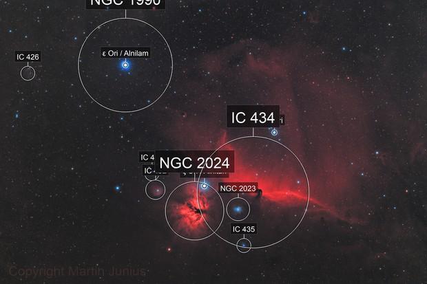 Horsehead Nebula and Friends - B33 - IC 434 - NGC 2024 (Theli v1 L=R,RGB)